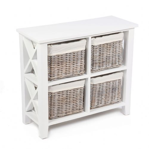 "4 Basket Vertical ""X"" Cabinet in Matt White with Cotton Linings"